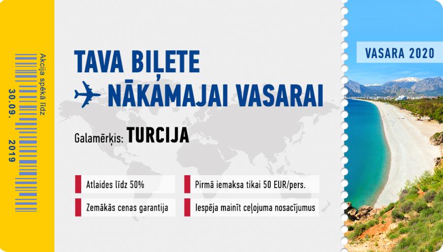 Rezervējiet savu ceļojumu uz Turciju par labākajām cenām un nosacījumiem nākamajam gadam jau laicīgi!
