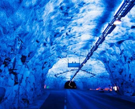 Norvegija. Laerdalio automobilių tunelis