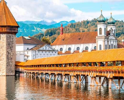 Šveicarija. Liucerna. Medinis tiltas.