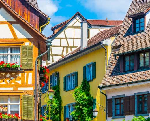 Vokietija. Meersburg. Fachverkiniai namai
