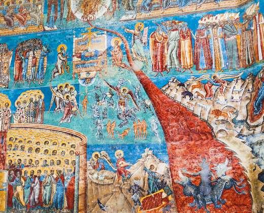 """Rumunija. Freska """" Paskutinis teismas"""""""
