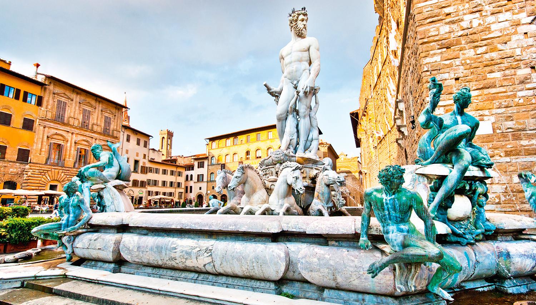 Italija. Florencija. Neptūno fontanas Sinjorijos aikštėje