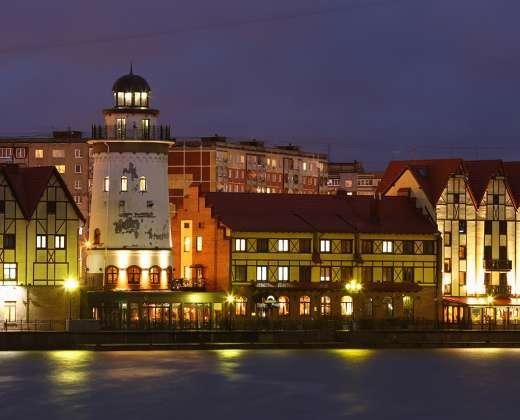 """Kaliningradas. """"Žvejų miestelis"""" vakare"""