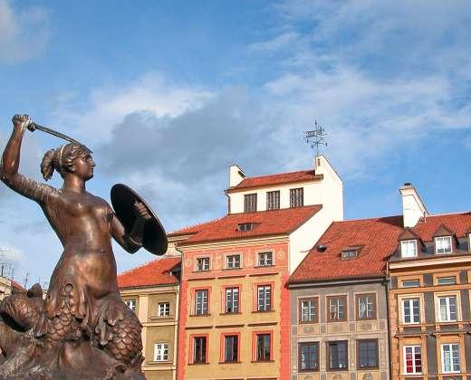 Lenkija. Varšuva. Undinės skulptūra