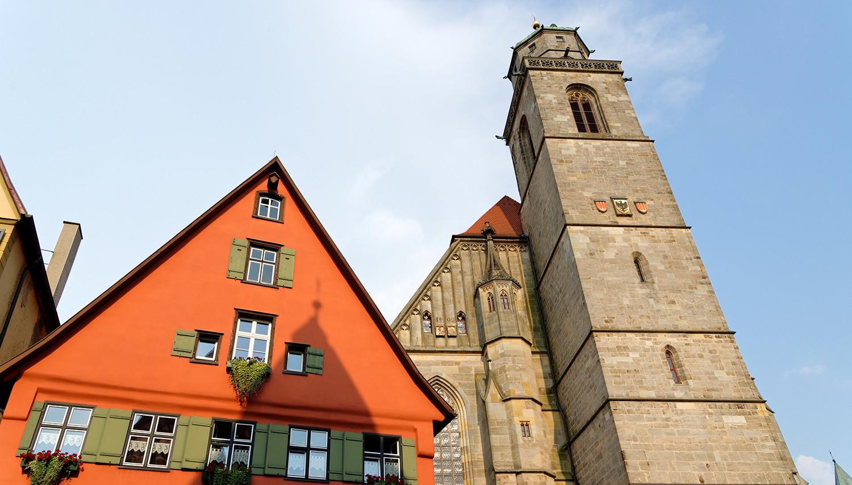 Vokietija. Dinkelsbiulis. Šv. Jurgio bažnyčia