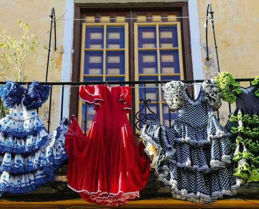 Ispanija. Malaga Flamenko šokėjų rūbai