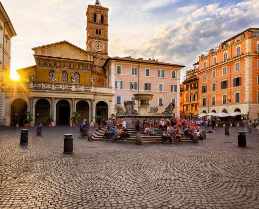 Italija. Roma. Trastevere rajonas. Piazza Santa Maria